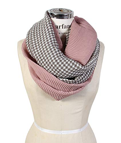 Scarfand's Two-Toned Pleated Check Plaids Infinity Scarf (Checks Pink)