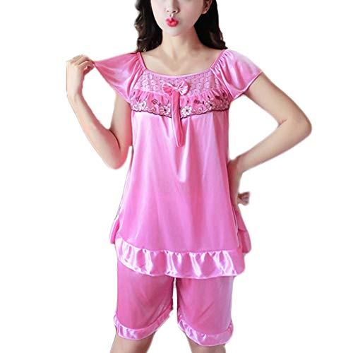 (Women's Sexy Lace V-Neck Nightdress Lingerie Sleepwear Sexy Pajamas Pink)