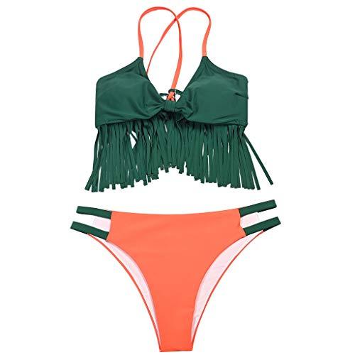 MOHOLL 2020 New Two Pieces High Waisted Ruffle/Tassel Bikini Set V Neck Printed Swimwear Summer Swimsuit
