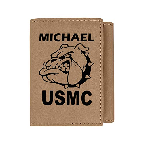 Devil Dog Military USMC Mascot Personalized Engraved Trifold Wallet