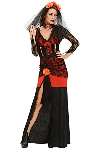 Day Of The Dead Costumes 2016 (LOBiI78lu Women's Day of The Dead Diva Halloween Costume)