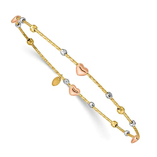 (14k Tri Color Yellow White Gold Heart Slip On Bangle Bracelet Cuff Expandable Stackable Fine Jewelry Gifts For Women For Her)