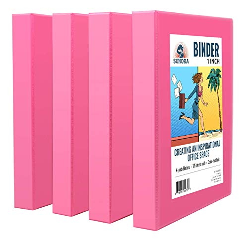 Sunora Binder - 3 Rings 1 inch in Diameter, for Office, Home, College, Student, Work, Presentation, Project, and Report Use, 4 Value Pack (Hot Pink)