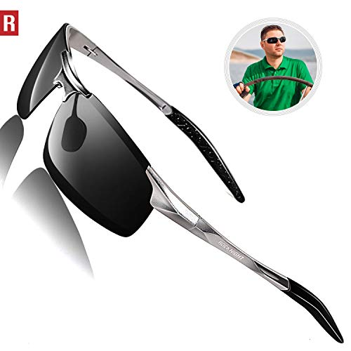 ROCKNIGHT Driving Polarized Sunglasses for Men UV Protection HD Glasses Ultra Lightweight Al-Mg Metal Outdoor Sports Boating Biking Sunglasses Rimless (Best Brand Of Sunglasses For The Money)