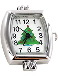 """Christmas Tree Interchangeable Watch Face, 1"""", Silver/Green"""