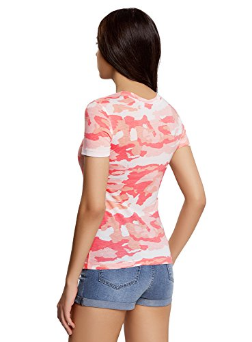 oodji Collection Mujer Camiseta Recta con Cuello Redondo Rosa (4041O)