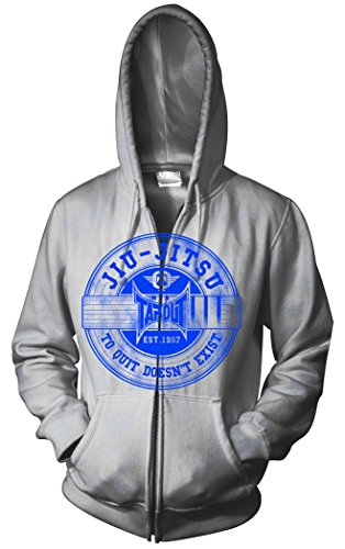 TapouT Jiu Jitsu Zip Up Adult Hoodie (Medium, Grey)