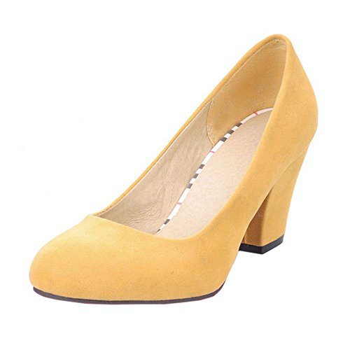 KemeKiss Block Yellow Heel Shoes Spring Casual Dress Pumps Women rwqvUI81r