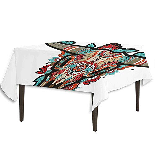 kangkaishi Western Detachable Washable Tablecloth Buffalo Sugar Mexican Skull Colorful Ornate Design Horned Animal Trophy Great for Parties Festivals etc. W36.2 x L36.4 Inch Turquoise Red -
