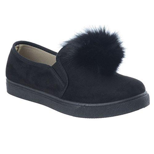 Forma mujer Piel Pompón Oxford Mocasines Ante nuevo Suede Zapatos Zapatillas mullido Plana Black Talla Bajo Plano Tacón Faux qqEUwPr