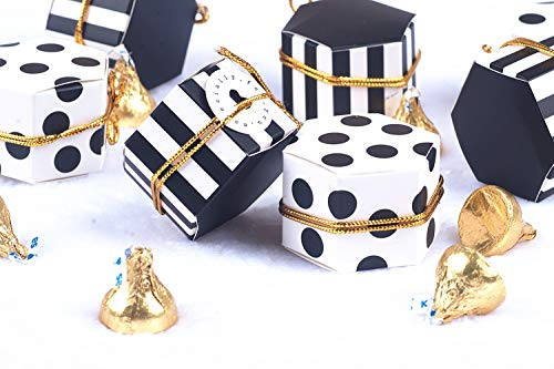 - Aimto Black and White Favor Boxes Treat Boxes Party Candy Boxes With Tags And Rope - 2