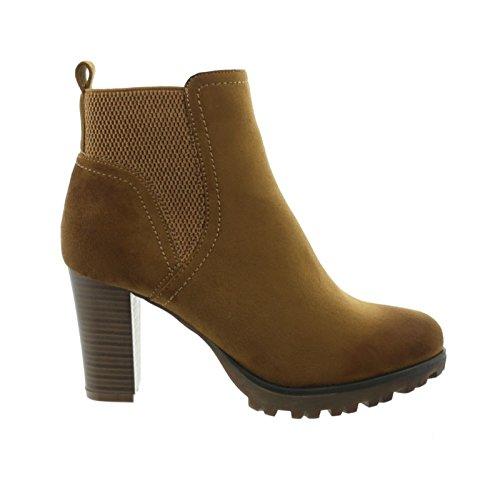 King Of Shoes Damen Stiefeletten Ankle Boots Plateau Stiefel Schuhe 74 Camel