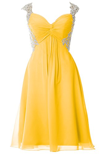 MACloth Women Lace Straps Chiffon Short Prom Dress Formal Party Evening Gown Amarillo