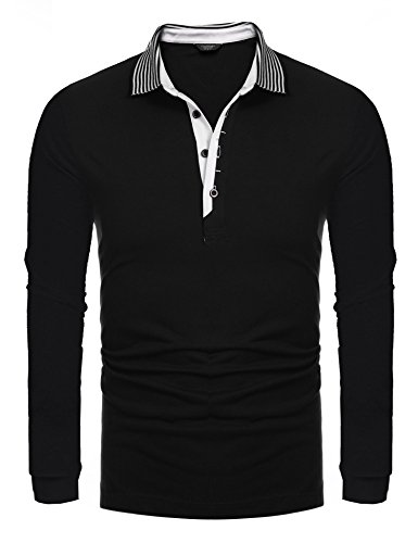 Collar Long Sleeve Shirt (Coofandy Men's Short Sleeve Casual Striped Collar Classic Fit Polo Shirts (Large, Black(long sleeve)))
