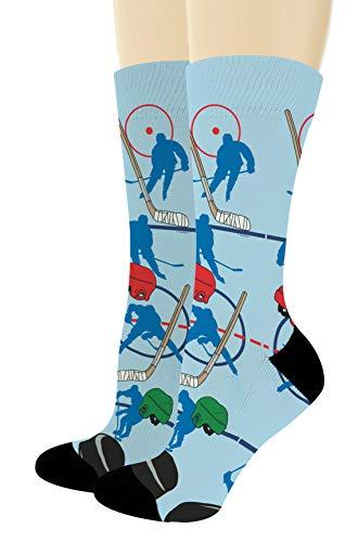 Ice Hockey Gifts for Men Women Sports Themed Socks Hockey Coach Gifts 1-Pair Novelty Crew Socks -