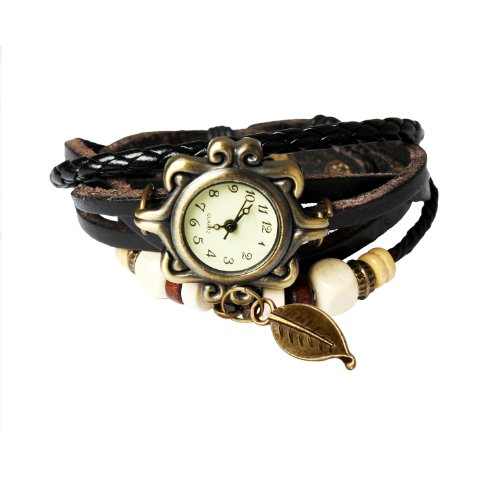 Around Wrap Stylish - Bohemian Style Retro Handmade Leather Tree Leaf Wrist Watch. Beautiful, Fashionable, Luxury, & Stylish Weave Around Wrap Watch Bracelet For Women, Ladies, Girls. Great Accessory W/ 8 Different Colors- Black