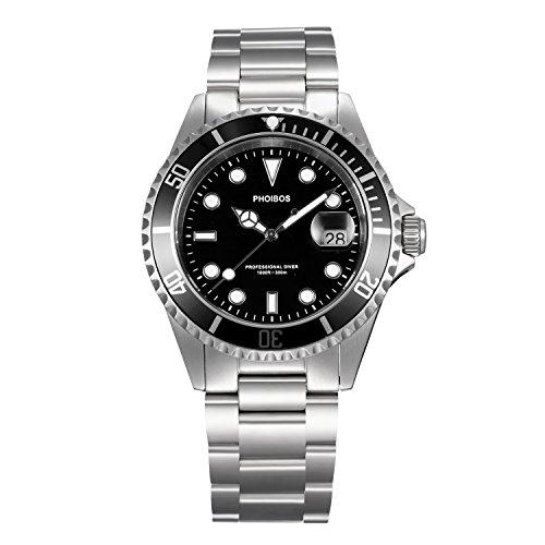 Luminova Markers (Phoibos Men's PX002C 300M Dive Watch Swiss Quartz Black Sport Watch …)