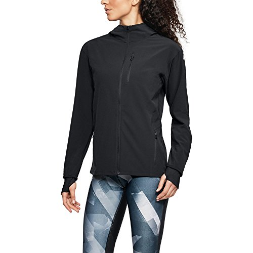 Under Armour Women's Outrun The Storm Jacket, Black/Reflective, Small (Black Storm Jacket)