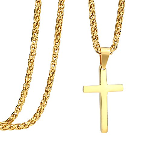 Steel Small Cross - 24 inch Stainless Steel Gold Cross Pendant Necklace Franco Chain
