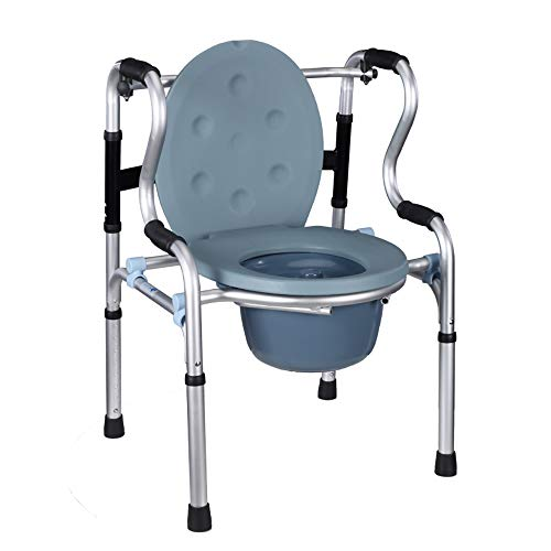 QETU Elderly Commode Chair, Foldable Aluminum Commode Chair, Disabled, Pregnant Women with Wheel Auxiliary Toilet Seat Chair
