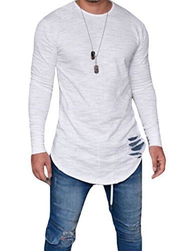 Men's Long Sleeve Slim Fit T-shirt Crew Neck Autumn Blouse with Ripped Holes (US-M+, White)