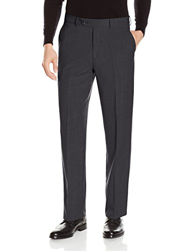 Tailored Worsted Wool Suit - Palm Beach Men's Preston Pleated Dress Pant, Charcoal, 40W Regular