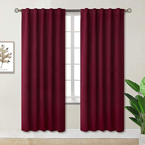 BGment Rod Pocket and Back Tab Blackout Curtains for Bedroom - Thermal Insulated Room Darkening Curtains for Living Room, 2 Window Curtain Panels (42 x 84 Inch, Burgundy Red)
