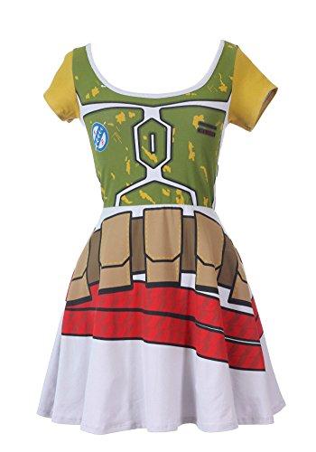 Sidecca Star Wars Boba Fett Skater Dress-Green-Medium