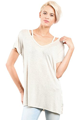 Women cut out with strap neckline side slit fashion basic chic jersey tunic shirts Oatmeal Small