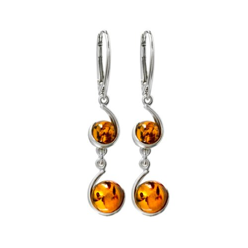 Amber Sterling Silver Round Graceful Leverback Earrings ()