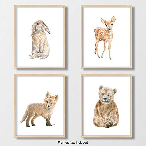 Woodland Animal Nursery Prints Unframed Set of 4, Pick Your Baby Animals, Size and Orientation, Original Watercolor Art Signed By Artist