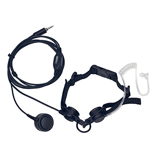 Coodio Tactical Laryngophone Earpiece [Heavy Duty] Throat Mic Headset Bodyguard FBI [Covert Acoustic Tube] Finger PTT Microphone For Yaesu, Standard Horizon 2 Way Radio ()