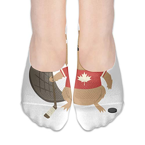 No Show Socks Beaver with Ice Hockey Stick and Puck Customized Womens Low Cut Sock Casual Invisible Socks for Girl