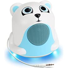 Mini Cute Animal Battery Powered Portable Speaker with LED Night Light (Polar Bear Pal Jr) Speaker for Kids by GOgroove-Passive Subwoofer, Built-in 3.5mm AUX Cable - Plug Into Tablets, Phones, & more