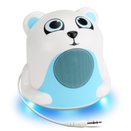 GOgroove Mini Cute Animal Battery Powered Portable Wired Speaker (Polar Bear) with LED Night Light Speaker for Kids - Passive Subwoofer, Built-in 3.5mm AUX Cable - Plug into Tablets, Phones, more