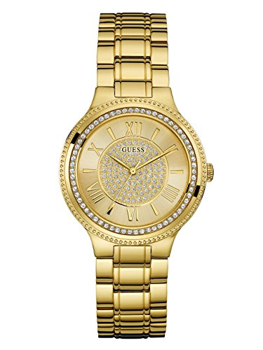 GUESS Women's Satinless Steel Crystal Accented Watch, Color: Gold-Tone (Model: - Watch Guess Accent Crystal