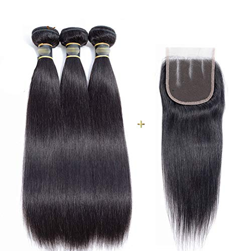 (Brazilian Human Hair Bundles With Lace Closure 3 Bundles Straight Hair Weave Bundles With Closure No Tangle No Shedding Non Remy,16 18 20+12Closure,Natural Color,Free Part)