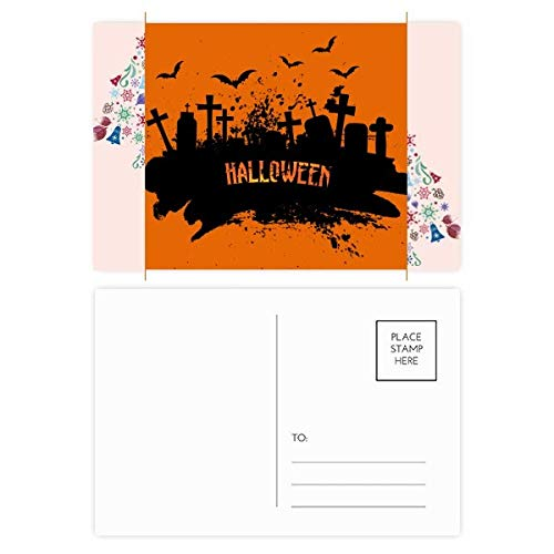 Cemetery Postcard - Horror Night Cemetery Halloween Christmas Tree Postcard Thanks Card 20pcs