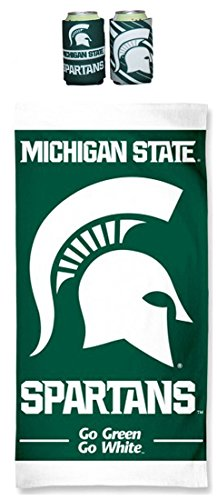 (WinCraft Bundle - 3 Items: 1- Michigan State Spartans NCAA 30 X 60 Beach Towel AND 2 Can Coolers)