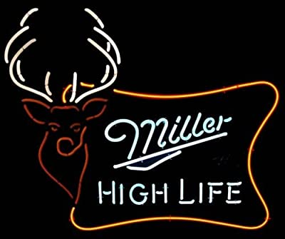 Miller High Life Outdoor Handcrafted Real Glass Neon Light Sign Home Beer Bar Pub Sign 19x15 inches.The Best Offer!Super Bright!