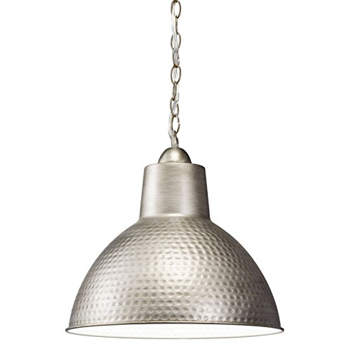 Kichler Lighting 78200AP Missoula 1LTPendant, Antique Pewter Finish with White Interior Shade