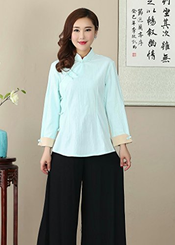 Chinois Traditionnel Tang Blouse Chemise Rétro Manche Bleu Veste Avec Acvip Coton Femme En Vêtement Longue Chanvre Lac De nwAHIt8x