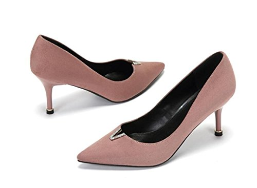Femme Noir Haut Talons Mode Sexy Work Court Chaussures WeddingDaphne Faisant La Navette Lady Party Nightclub,Pink-7.5cm-EU:36/UK:4
