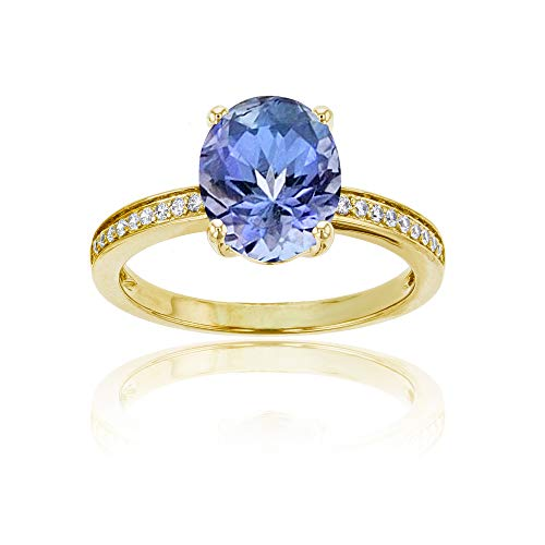 (14K Yellow Gold 0.10 CTTW Round Diamond Channel Set & 10x8 Oval Tanzanite Engagement Ring)