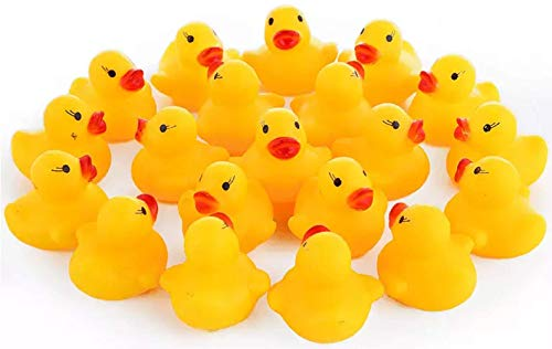 Maeline Wholesale Bulk Lot Baby Bath Water Duck Toy Sounds Tiny Mini Yellow Rubber Ducks Small Children Swimming Beach (30 Pack) from Maeline