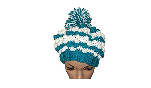 Peacock Slouch Handknit Hat