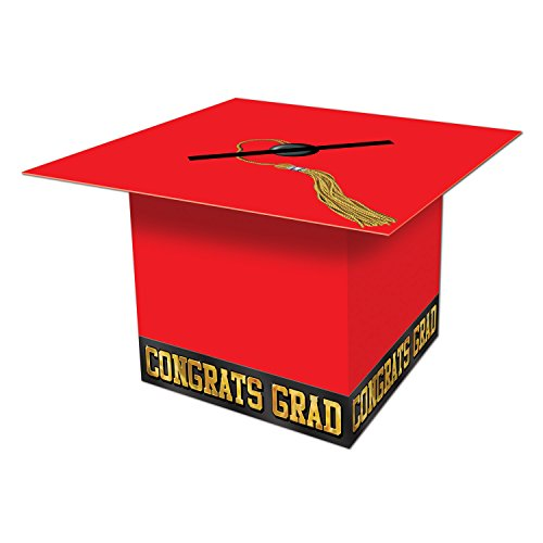 Beistle Graduate Cap Card Box, 8-1/2-Inch by 8-1/2-Inch, Red ()