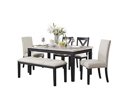 Abbey Avenue D-ATH-FWB6P 6Piece Athena Dining Set-Table, 2 Upholstered Side Chairs, 2 X-Back Side Chairs & Bench, Dark Walnut ()