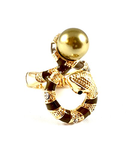 Snake with a Pearl in Gold tone Adjustable Statement Stretch ()