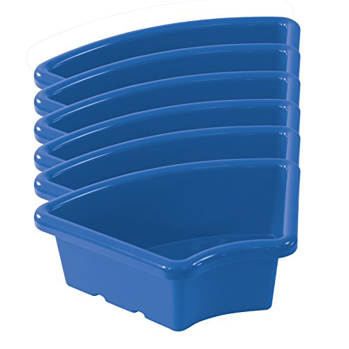 ECR4Kids Fan Shaped Storage Tray, Blue (6-Pack) by ECR4Kids